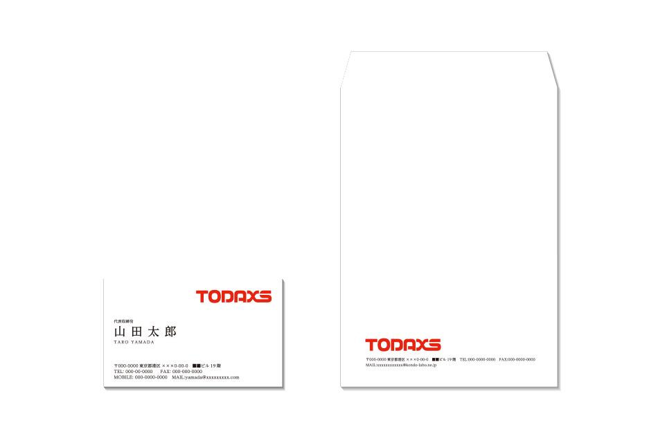 名刺と封筒でのロゴ使用イメージ