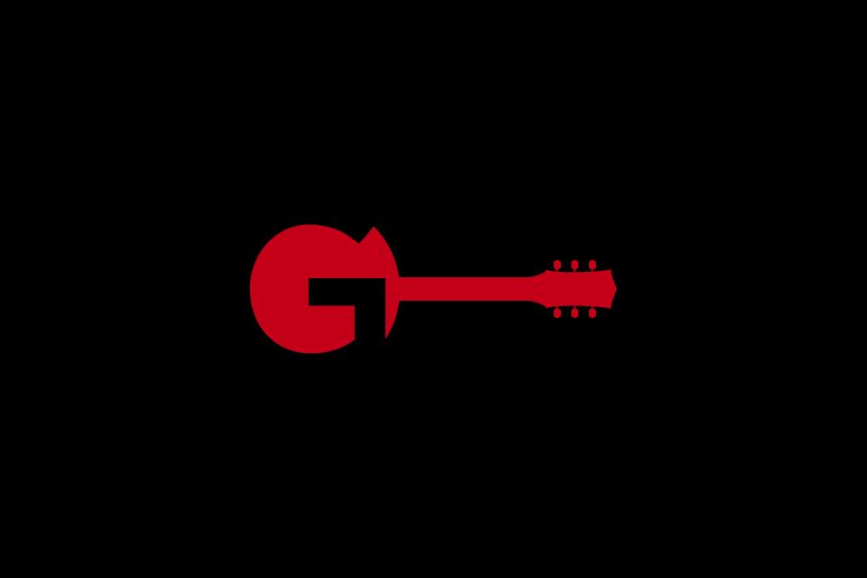 ギターを描いたバンドロゴデザイン