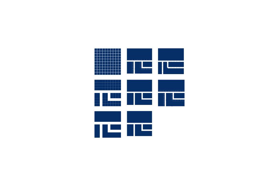 漢字をモチーフにシンボル化したロゴ